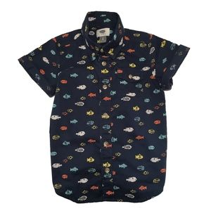[Old Navy] Navy 5T Fish Print Button Down Shirt